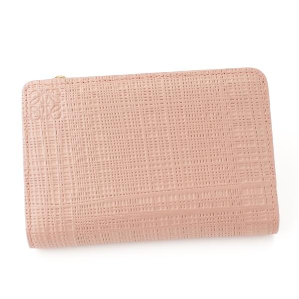 リネン スモール ジップ ウォレット 折り財布 カードケース ピンク