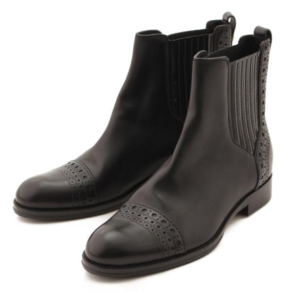 サイドゴア レザー ブーツ ブラック