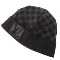 ダミエ ウール ニット帽 ブラック×グレー