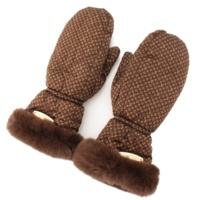 モノグラム ファー付き ミトン 手袋 ブラウン