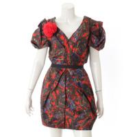 コサージュ付き ドレス ワンピース レッド 36