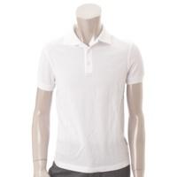 メンズ コットン ポロシャツ ホワイト XXS