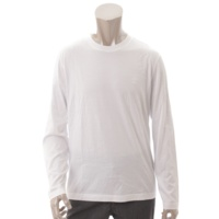 メンズ ロゴ刺繍 コットン 長袖 カットソー ホワイト M