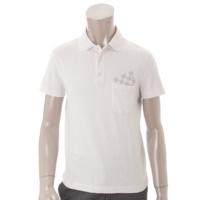 メンズ ダミエ ポロシャツ ポケット付 ホワイト XS