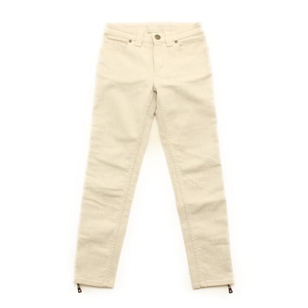 裾ジップ パンツ ホワイト アイボリー