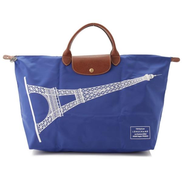 パリ限定 プリアージュ ナイロン 折り畳み トートバッグ エッフェル塔 ブルー