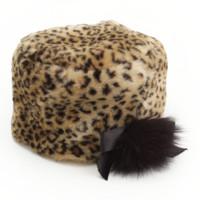 ピンキーガールズ アニマル柄 ファー ロシアン帽 ベージュ×ブラック