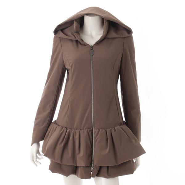 レイニークッション ブリリアント 裾フリル 中綿 コート 30903 ブラウン 40