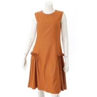 リネンフェイスストレッチ ドレス ノースリーブ ワンピース 36618 オレンジ 38