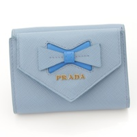 現行品 サフィアーノ リボン 三つ折り財布 1MH021 ブルー