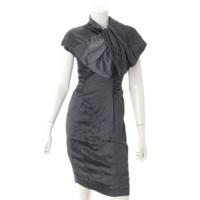 ギャザー ワンピース ドレス グレー 38