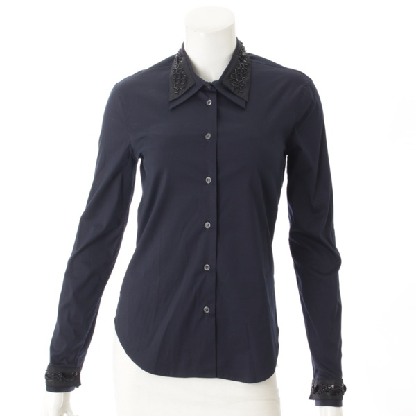 ビジュー付き 長袖 ブラウス シャツ ネイビー 38