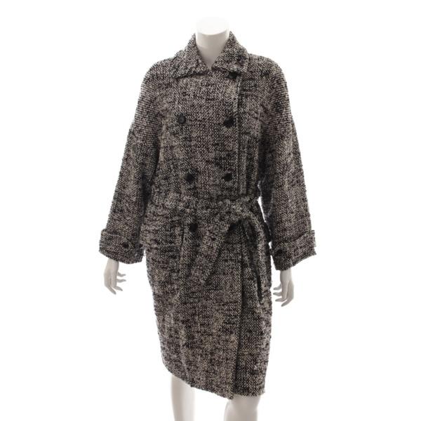 ツイード ロングコート ベルト付き ブラック ホワイト