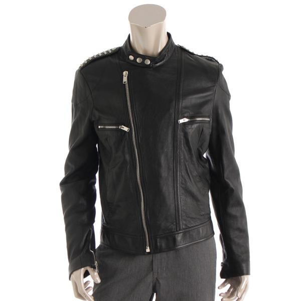 メンズ レザー ライダースジャケット 416822 ブラック