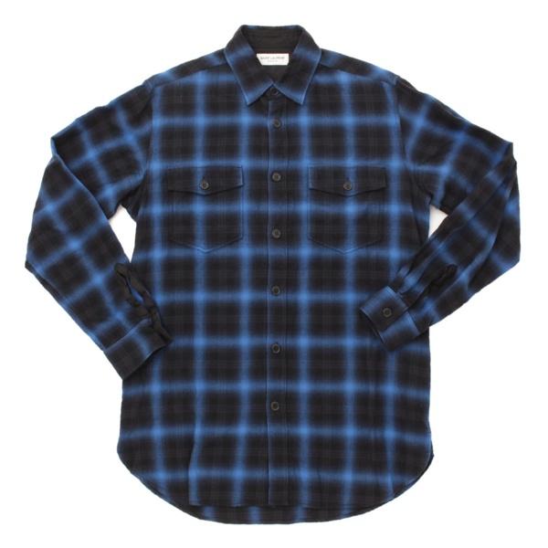 16AW メンズ チェック ネルシャツ 392945 ブルー×ブラック M
