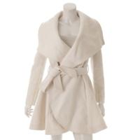 ウエストベルト付 ビッグカラー ウール コート ホワイト S