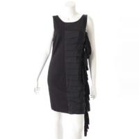 ノースリーブ ドレープストリップ ドレス ワンピース ブラック 8