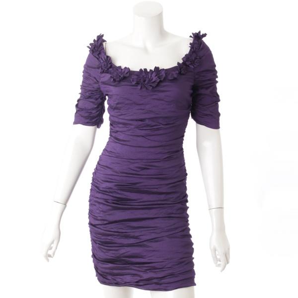 フラワー 半袖 シャーリング ドレス ワンピース パープル 4