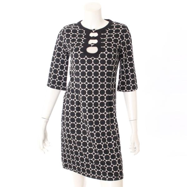 総柄 半袖 パーティドレス ワンピース ブラック×ホワイト XS
