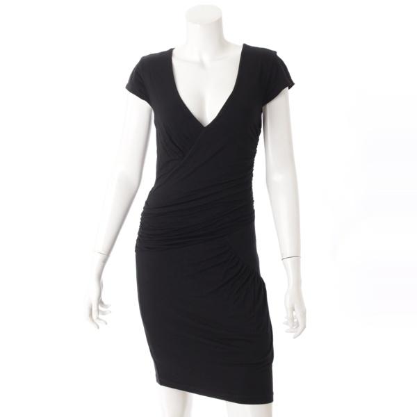 Vネック ドレープ ドレス ワンピース ブラック S