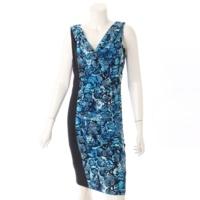 ノースリーブ パイソン柄 ドレープ ドレス ワンピース ブルー M