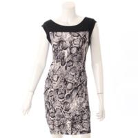 ノースリーブ パイソン柄 ドレス ワンピース ブラック×ホワイト S