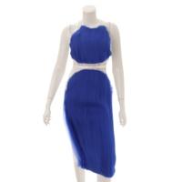 ウエストベルト付き ノースリーブ チュール ワンピース ドレス ホワイト×ブルー 38