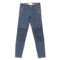 裾ファスナー スキニー デニムパンツ ジーンズ ブルー 25