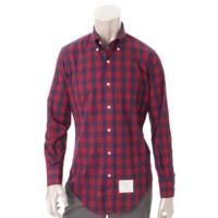 メンズ チェック ボタンダウンシャツ ネイビー×レッド 0