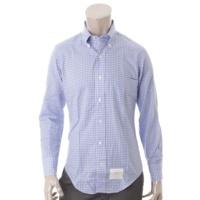 メンズ ギンガムチェック ボタンダウンシャツ ブルー×ホワイト 0