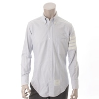 メンズ ストライプ オックスフォード ボタンダウンシャツ ホワイト×ブルー 0