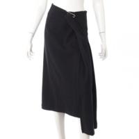 ワイズ Y's  安全ピン ウール アシンメトリー ロングスカート ブラック 4